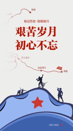 建党100周年建党节手机海报