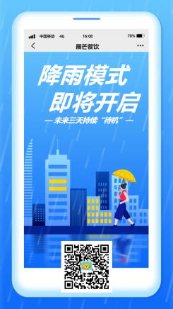 降雨预警/餐饮美食/创意扁平/手机海报