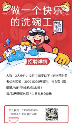 招聘/餐饮美食/手绘卡通/手机海报