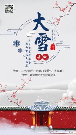 简约浪漫大雪节气文化倡导手机海报
