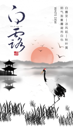 白色中式传统大气白露手机海报