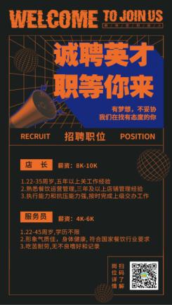 招聘/餐饮美食/酷炫创意/手机海报